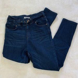 Free People Super High Rise Dark Wash Skinny Jeans